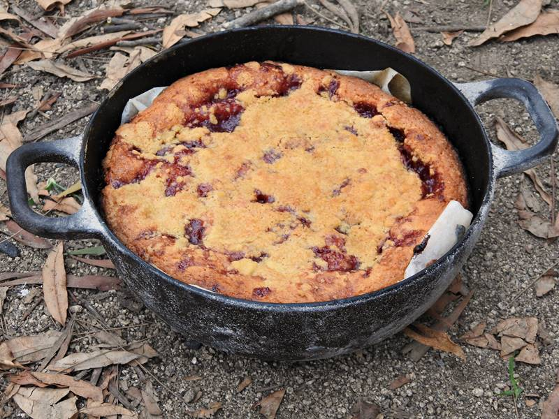 Outback camping cooking - raspberry shortbread