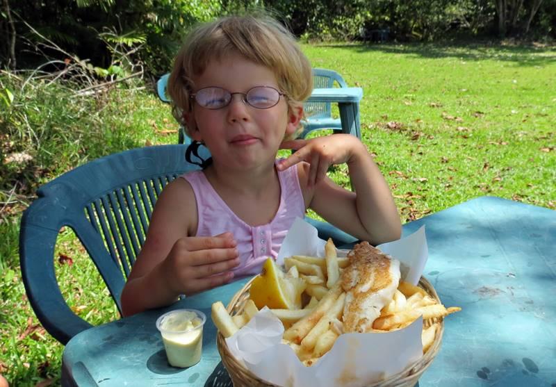 Enjoying Fish & Chips at Mason's Cafe