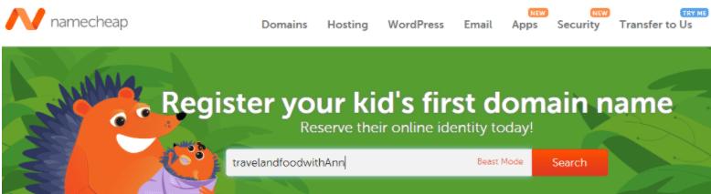 NameCheap Main Page