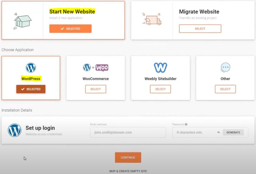SiteGround - Start New Website - WordPress