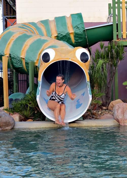 Kasha on giant slide