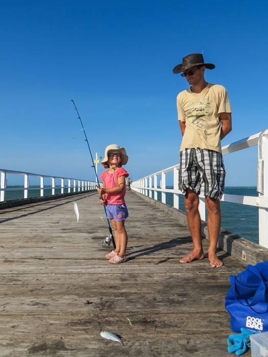 Nell getting baitfish on Urangan Pier