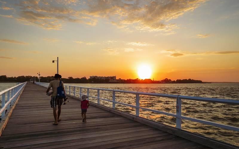 Coming off Urangan Pier after fishing at sunset