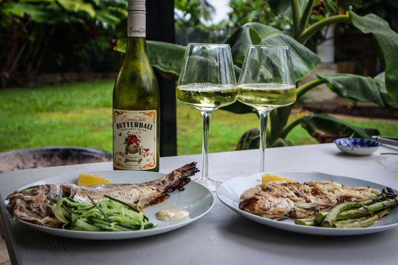 Keto Grilled Snapper - one with cucumber; one with asparagus