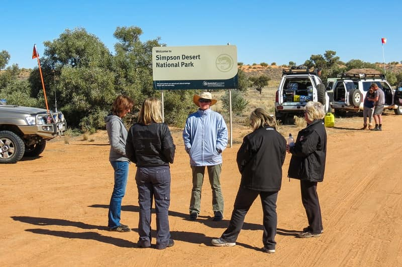 Convoy break at the entrance to Simpson Desert National Park