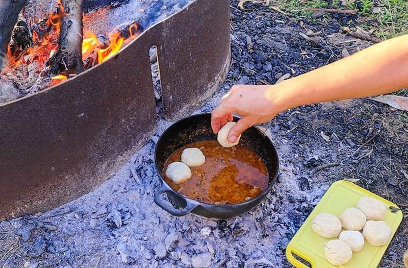 Dutch Oven Goulash - Drop dumplings