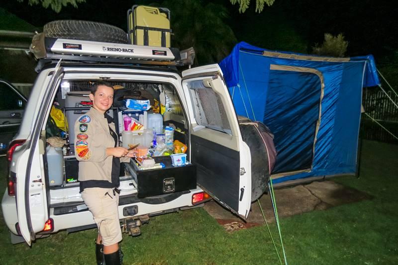 Brisbane to Birdsville - Kasha making dinner - the weather was miserable