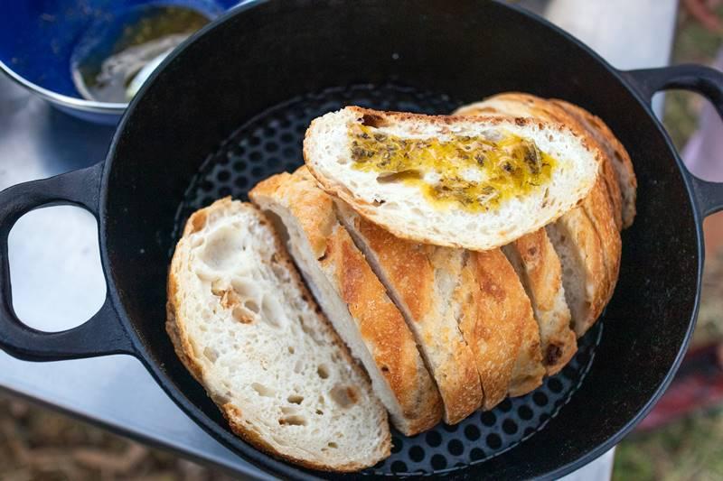Campfire garlic bread