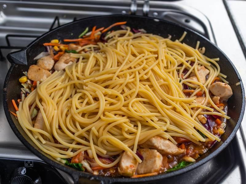 Sweet and sour chicken stir fry - add pasta