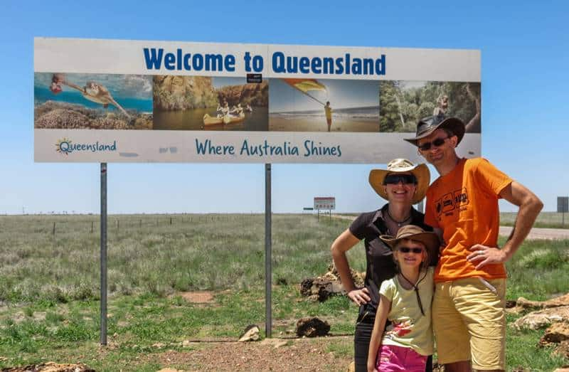 Crossing NT/QLD border - on the way to Mount Isa Underground Hospital